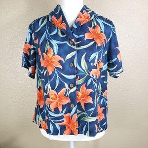 Jamaica Bay button up Hawaiian coral floral shirt